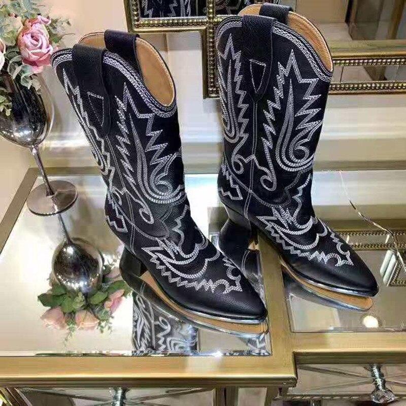 MStacchi 2020 nu daim brodé mi mollet bottes femmes talon épais bout pointu chaussures femme chaud neige bottes plates chevalier bottes - 3