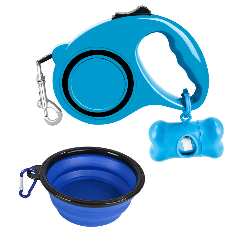 New Style Pet Supplies Dog Hand Holding Rope Foldable Dog Bowl Will Pick Up Garbage Bag 3-Piece Set