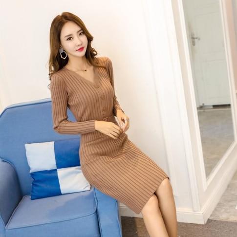 Single-Breasted V-Neck Sweater Dress Women Autumn Winter Knitted Jumper Dress With Belt High Waist Long Bodycon Vestidos DA252