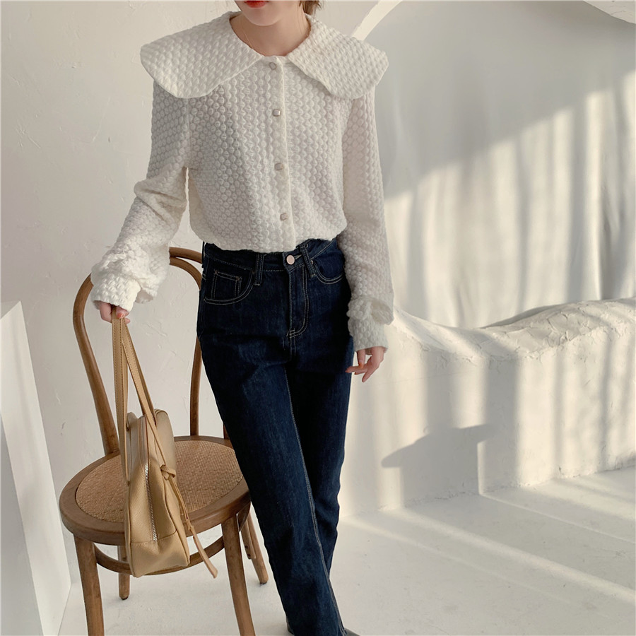 H53cde921d34a405ba089c5668d2e96d4z - Spring / Autumn Big Lapel Long Sleeves French Lace Buttons Blouse