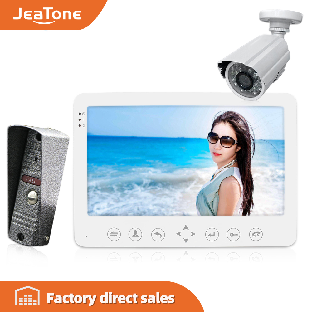 JeaTone 7'' Intercom For Home HD Wired Video Doorbell  Monitor  IR Night Vision Motion Sensor For Home Security+1200TVL Camera