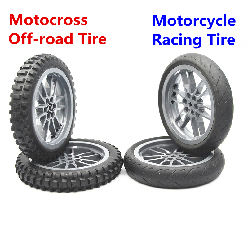MOC Technic Part Building Block Brick MOTORCYCLE TYRE & MOTORCYCLE RIM Compatible With Lego Technic Part Toy