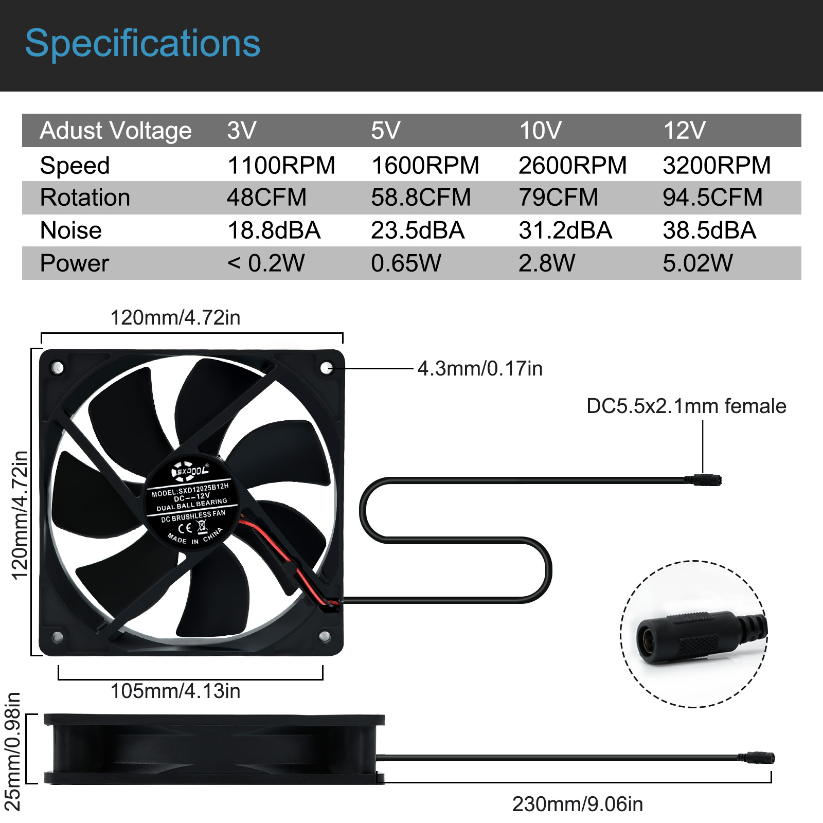 120mm Computer Fan with Ac Plug 110V 220V  to 3V - 12V 2A Exhaust Cooling Fan Router TV Box with Speed Controller ,for Grow Tent 5