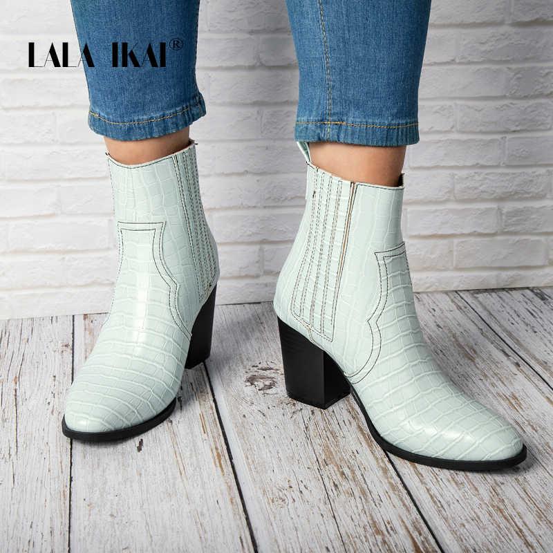 LALA IKAI kadınlar kış yarım çizmeler kare topuklu mavi Pu deri akın sonbahar Bota Feminina Stiletto orta topuklu çizmeler XWC4051-4