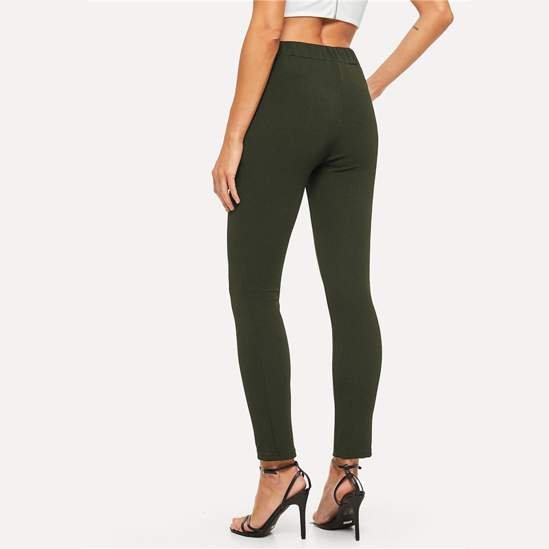 SHEIN Elastic Waist Mid Waist Skinny Trousers Autumn Office Lady Elegant Slim Fit Vertical Women Pencil Pants 17