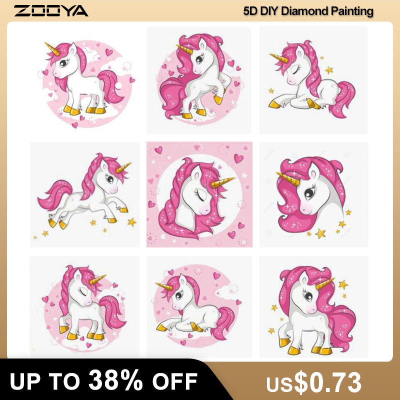 ZOOYA New 5d Diy Diamond Painting Unicorn Diamond Embroidery Cartoon pony child's Mosaic Sale Full Square Drill by number FDJB(China)