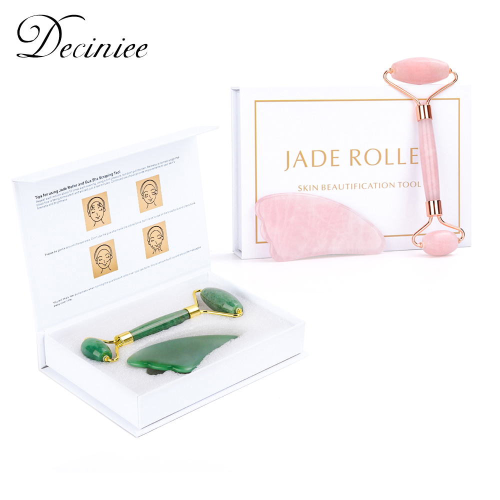 Natural Rose Quartz Roller Facial Jade Roller Stone Gua sha Scraper Face Lifting Massage Skin Eye Body Massager Beauty Care Tool