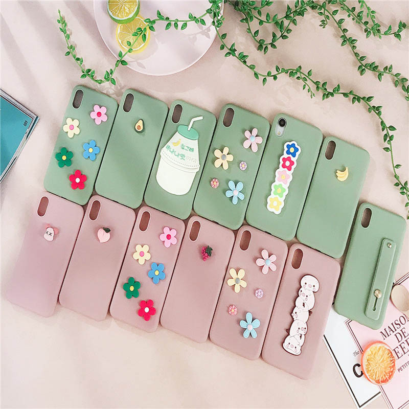 3D flower Phone Case for iphone xr x xsmax xs mobile accessories Silicone etui for iphone 7 8 6 s plus Cute Pattern Smooth Cover