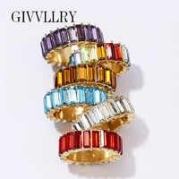 Anéis de cristal multicolorido para mulheres jóias noivado barroco geométrico zircônia cúbica anel de dedo meninas acessórios de moda