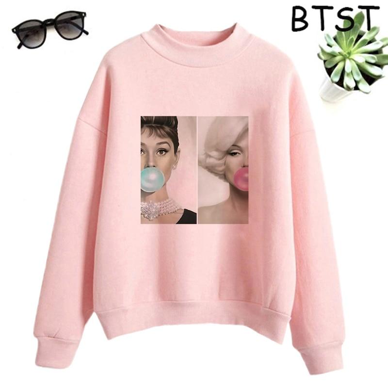 Audrey Hepburn Pink Bubble Kpop Clothes Polyester White Sweatshirt Pullovers Women Sweatshirt Japanese Gothic Harajuku Shirt 7