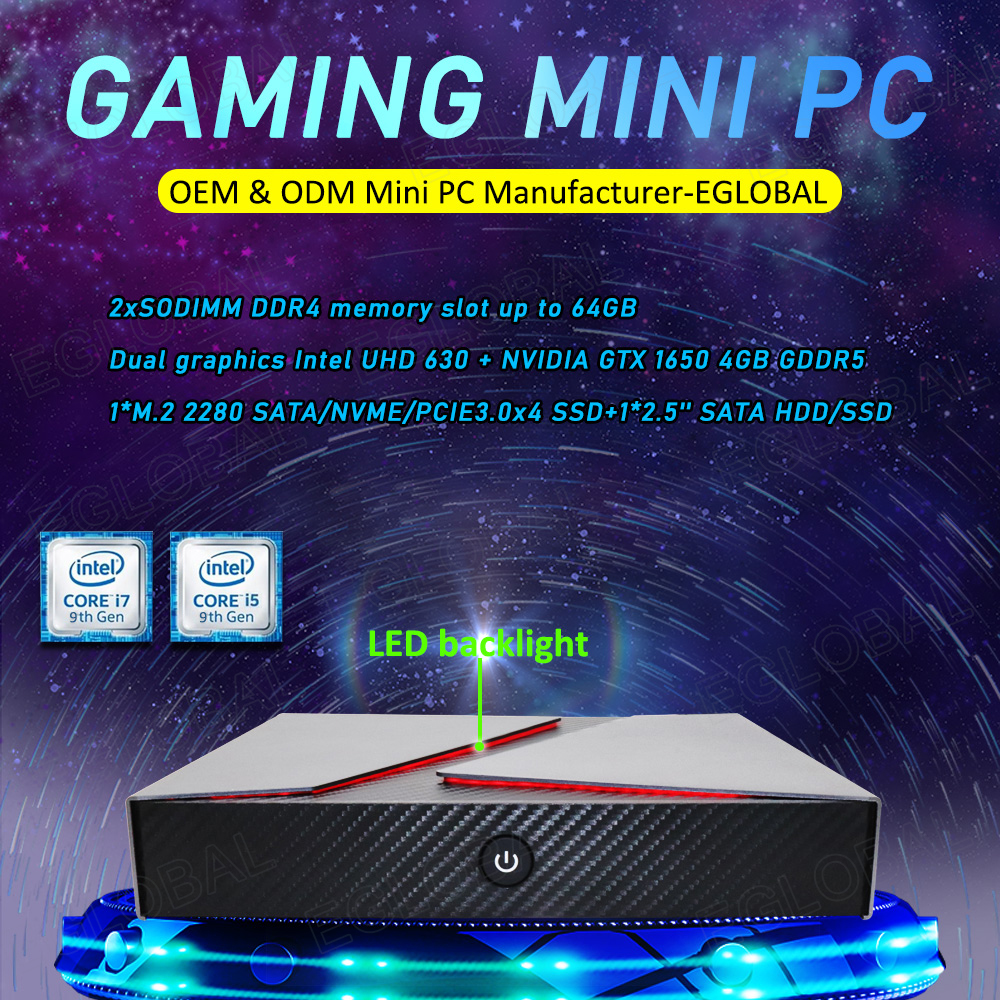 Eglobal GeForce GTX1650 Gaming Computer Dual Graphics Desktop 9th Intel Core I5 9300H I7 9750H Mini PC 4k Display Bluetooth4.0
