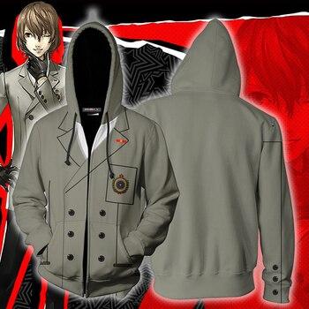 Gra Persona 5 bluzy 3D drukuj Goro Akechi Cosplay Hoody Hip Hop płaszcz na co dzień 3D bluzy z kapturem płaszcz na co dzień