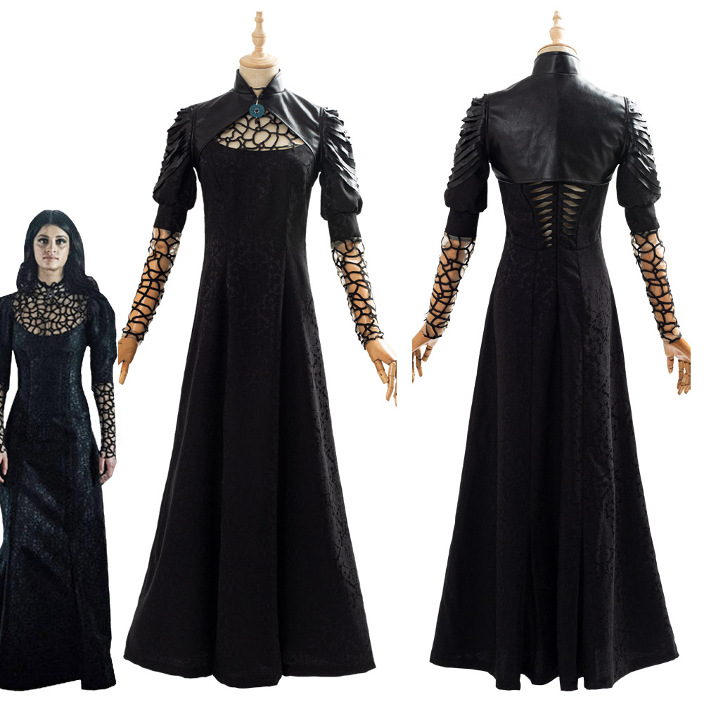 Yennefer Cosplay Costume Black Party Long Dress Cape Women Female Halloween Carnival Costumes Adult Outfit