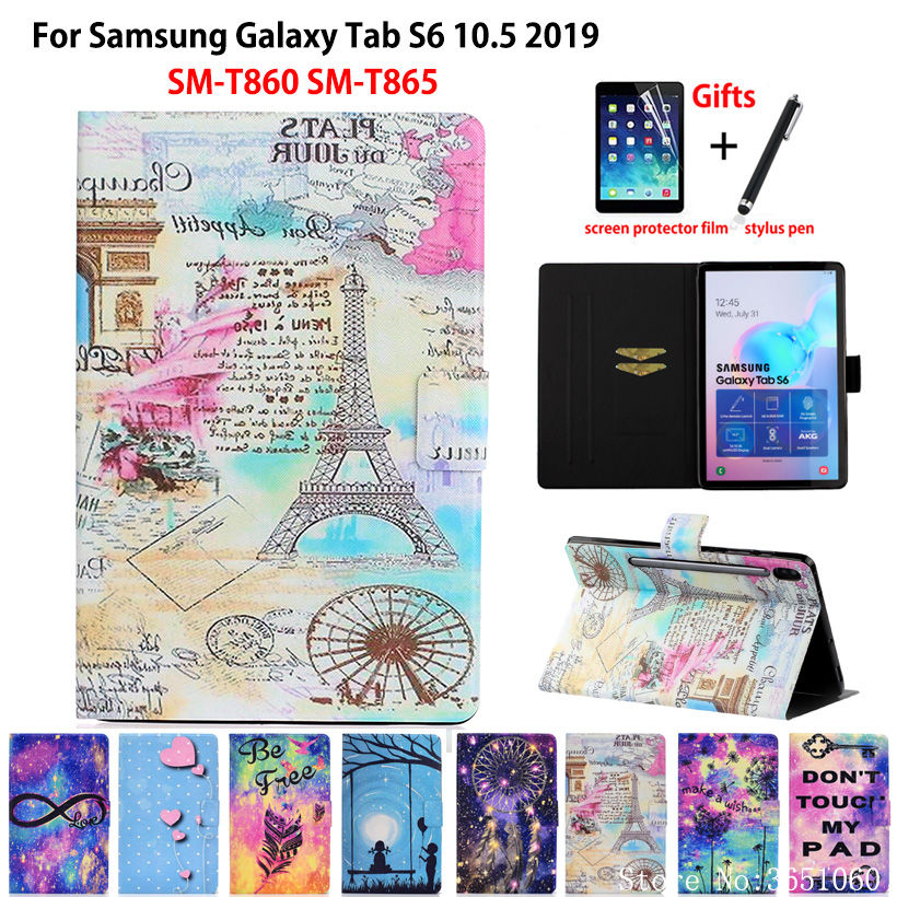 Tower Painted Case For Samsung Galaxy Tab S6 10.5 SM-T860 SM-T865 T860 2019 10.5 Cover Funda Tablet Flip Stand Shell Capa +Gift image