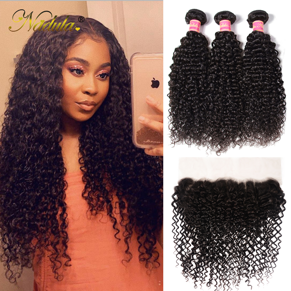 Nadula Hair  Curly Bundles With Frontal Closure 100%  Frontal 13*6 Ear to Ear Lace Frontal With Bundles 3