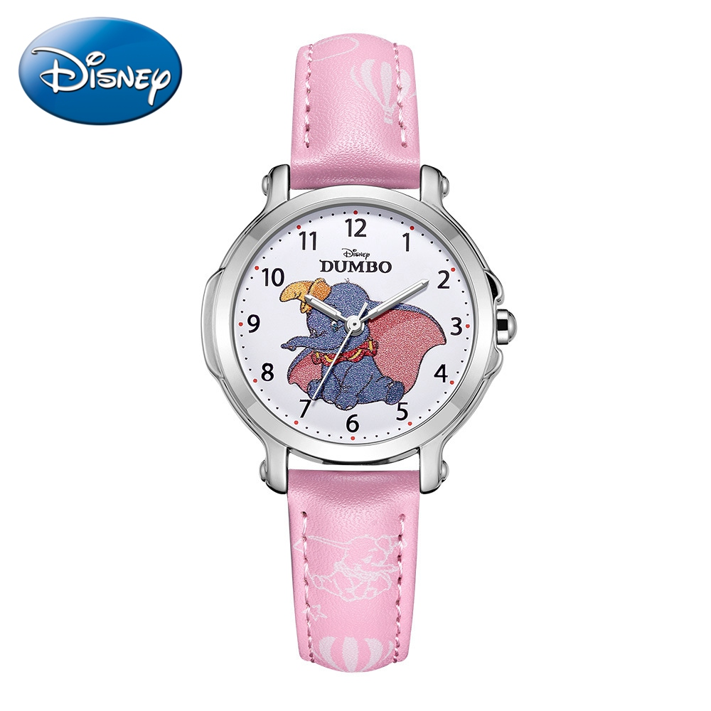 DUMBO Little Girl Pretty Cuties Pink Top Disney Brand Children Quartz Watch Elementary Student PU Band Waterproof Watches Gift