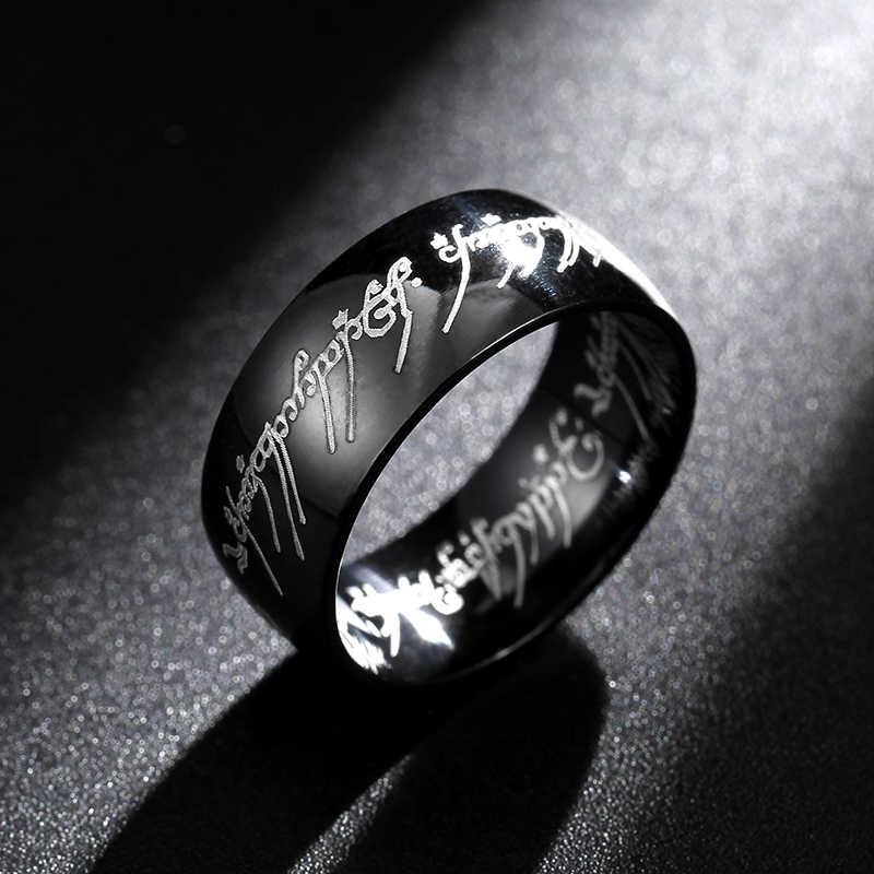 8MM Hot ภาพยนตร์ชายแหวนหนึ่งแหวนไทเทเนียมสแตนเลสสตีลแหวน 8 มม.สำหรับชายของขวัญงานแต่งงานเครื่องประดับ