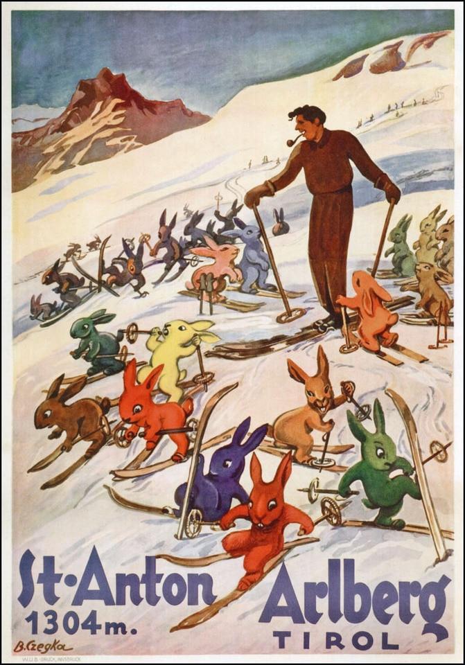 Skiing-in-Ski-School-Vintage-Retro-Kraft