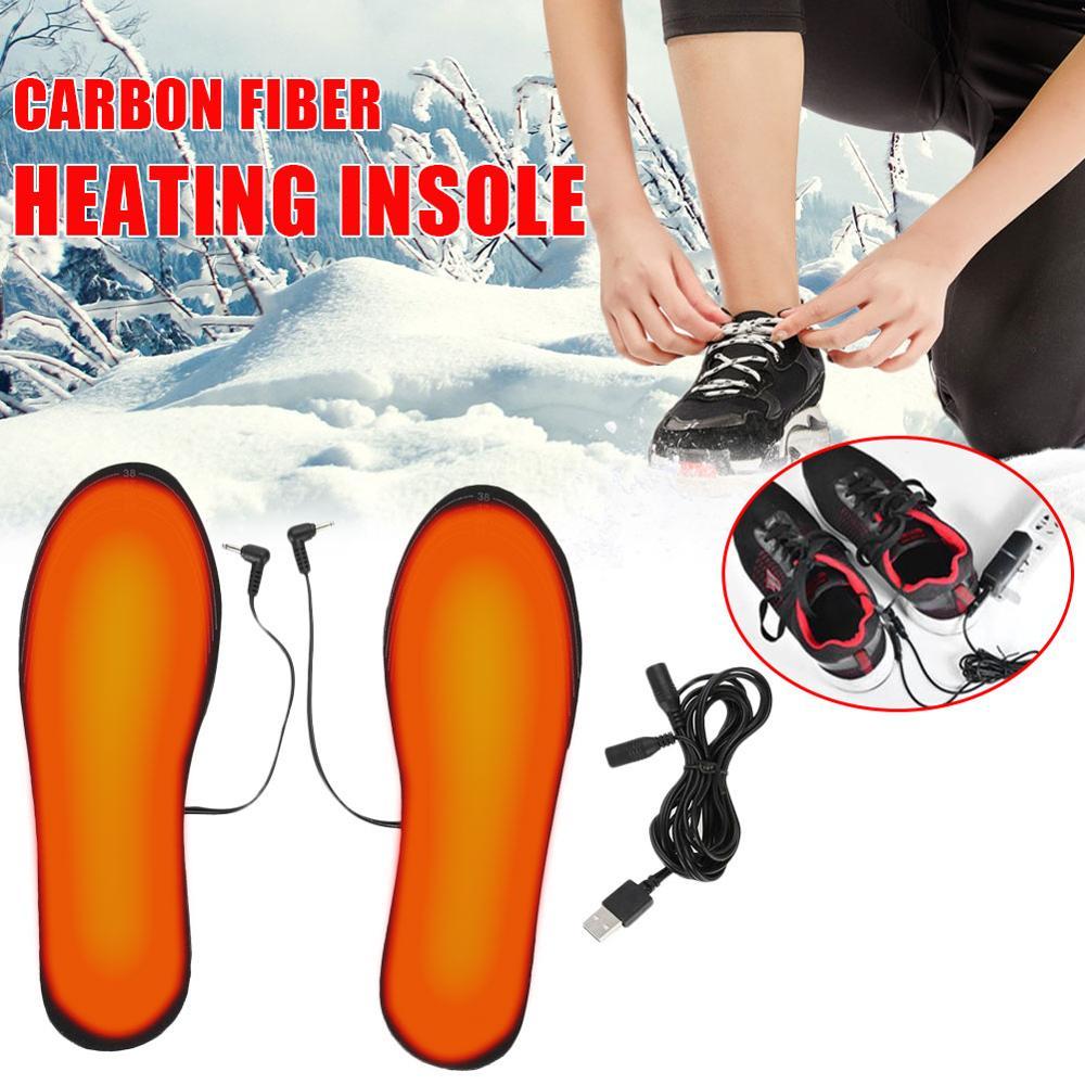 1 пара с подогревом стелька из зима на открытом воздухе спорт ноги тепло стелька USB с подогревом обувь для пеших прогулок верховой езды удобные мягкие без ворса размер