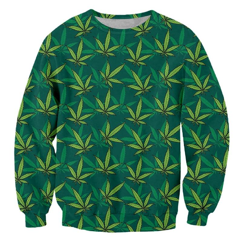 Купить ifpd eu/us size green leaves 3d printe man sweatshirts harajuku