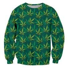 Ifpd eu/us size green leaves 3d printe man sweatshirts harajuku