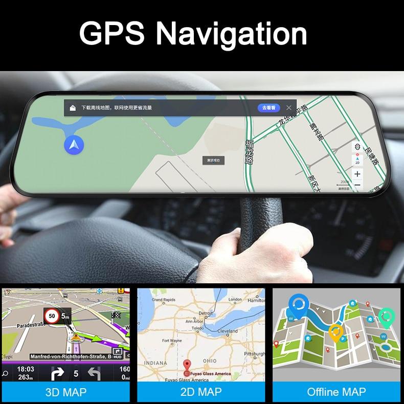 Dual 1080P 4G Android 8.1 10 Inch Stream Media Car Rearview Mirror Bluetooth Camera Car Dvr ADAS Super Night WiFi GPS Dash Cam 4