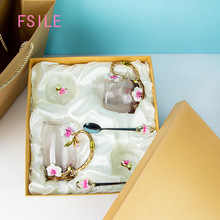 Cup-Set Orchid Enamel-Cup Butterfly Crystal Classic Delicate European-Style FSILE Household