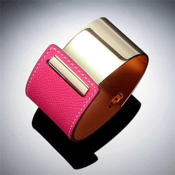 6colors high quality  chic cattlehide bangles H classic bracelet  belt buckle wristlet emboss logo leather bangle