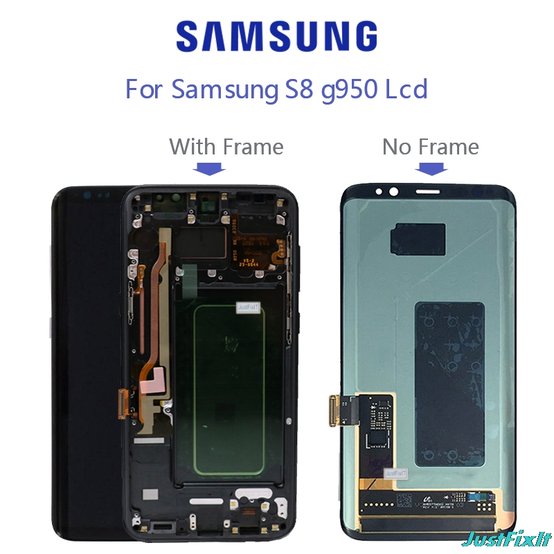 Super AMOLED For <font><b>Samsung</b></font> Galaxy <font><b>S8</b></font> <font><b>S8</b></font> plus G955f G950F G950U <font><b>G950FD</b></font> Burn-in Shadow Lcd <font><b>Display</b></font> Touch Screen Digitizer With Frame image