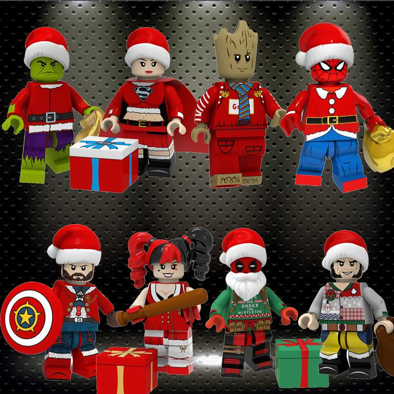 Ed Christmas Style Super Heroes Captain America Harley Quinn Deadpool Wolverine Hulk Superma Tree Man Building Blocks PG8185