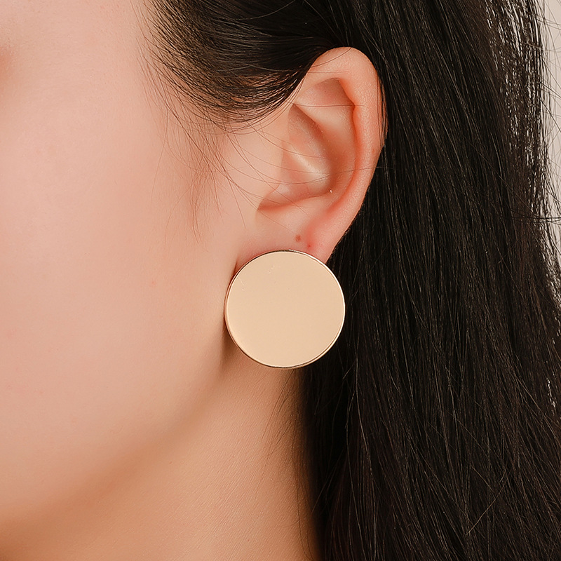 Fashion Geometric Round Gold Silver Color Earrings for Women Temperament Discs Cute Metal Minimalist Wild Stud Earrings Jewelry