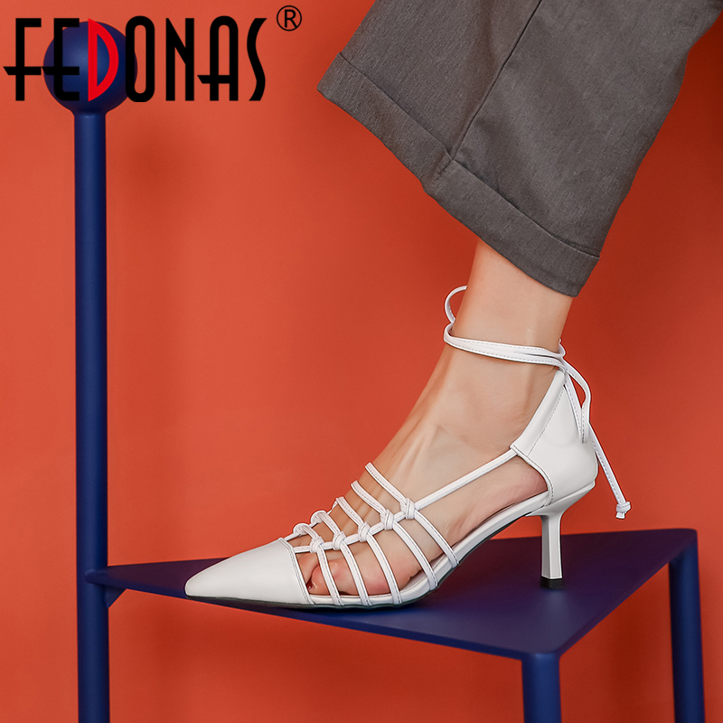 FEDONAS Fashion Sexy Wedding Prom Night Club Women Cow Leather Pumps Narrow Band Butterfly Knot Fretwork Ankle Strap Shoes Woman