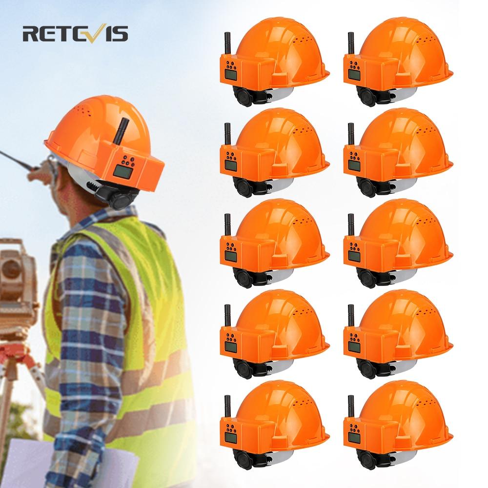 10 PCS RETEVIS RA616 Helmet Walkie Talkie PMR 446 Two Way Radio Headset walkie-talkies Helmet Construction Site Factory trucker