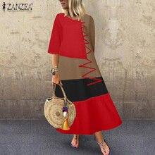 Dress Robe Linen Zanzea Women Vintage Cotton Summer O-Neck Half-Sleeve Patchwork Loose