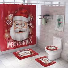 Christmas Series Printing Toilet Cover Mat Non Slip Rug Bathroom Shower Curtain Bathroom Set(China)