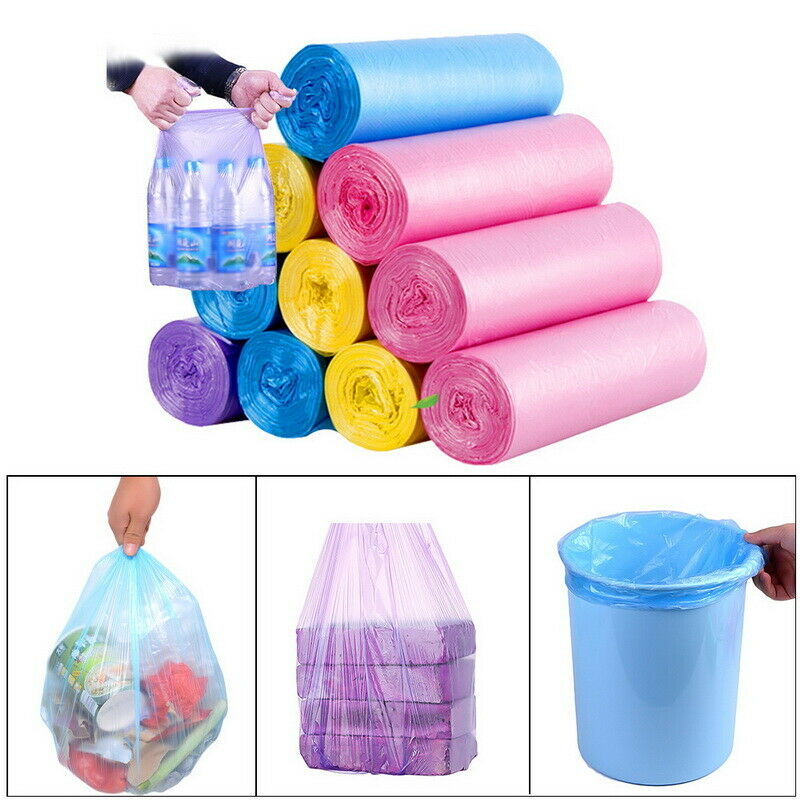 5 Roll Small Garbage Bag Trash Bags Durable Disposable Plastic Home Kitchen NEW