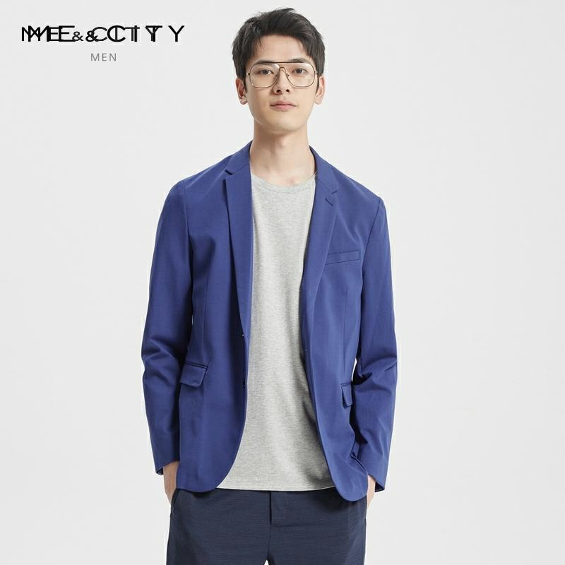 Me&City Mens Fashion Light Blazer Brand Business Blazer Tide Design Casual Male Smart Suit Jacket Costume Homme
