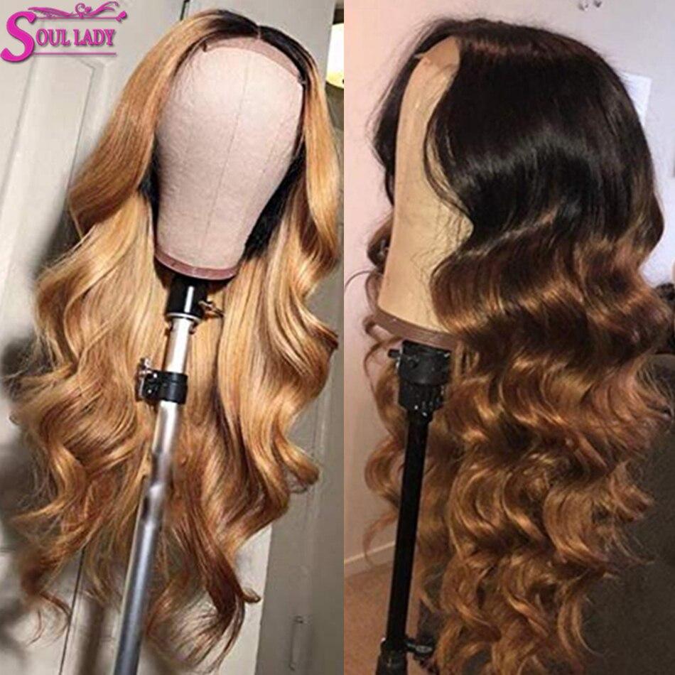 Alma senhora natural ombre encerramento peruca perucas de cabelo humano onda do corpo remy preto natural t1b 27 99j burg 30 peruca fechamento do laço 4x4 150%