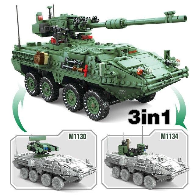 1672 pièces siècle MGS-M1128 militaire réservoirs blocs de construction ensemble véhicules blindés bricolage modèle briques jouets pour enfants garçons cadeaux