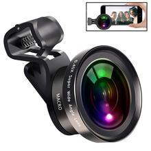 Large Aperture HD Phone Lens 52Uv 0.45X Wide Angle & 15X Macro 2 in 1 Clip-On Cell Camera for iPhone Samsung