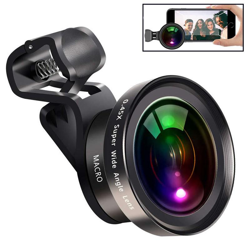 Large Aperture HD Phone Lens 52Uv 0.45X Wide Angle & 15X Macro Lens 2 in 1 Clip-On Cell Phone Camera Lens for iPhone Samsung