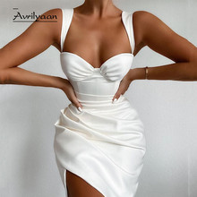 Avrilyaan White Pleated Summer Sexy Dress For Women Sleeveless Midi Party Dresses Vestidos Backless Night Elegant Sexy Dress