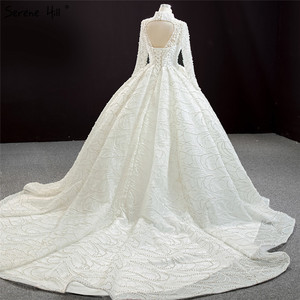 Image 4 - Luxury Ivory High Neck Sexy Plus Size Wedding Dresses 2020 Long Sleeves Beading Pearls Bridal Gowns BHM67129 Couture Dress