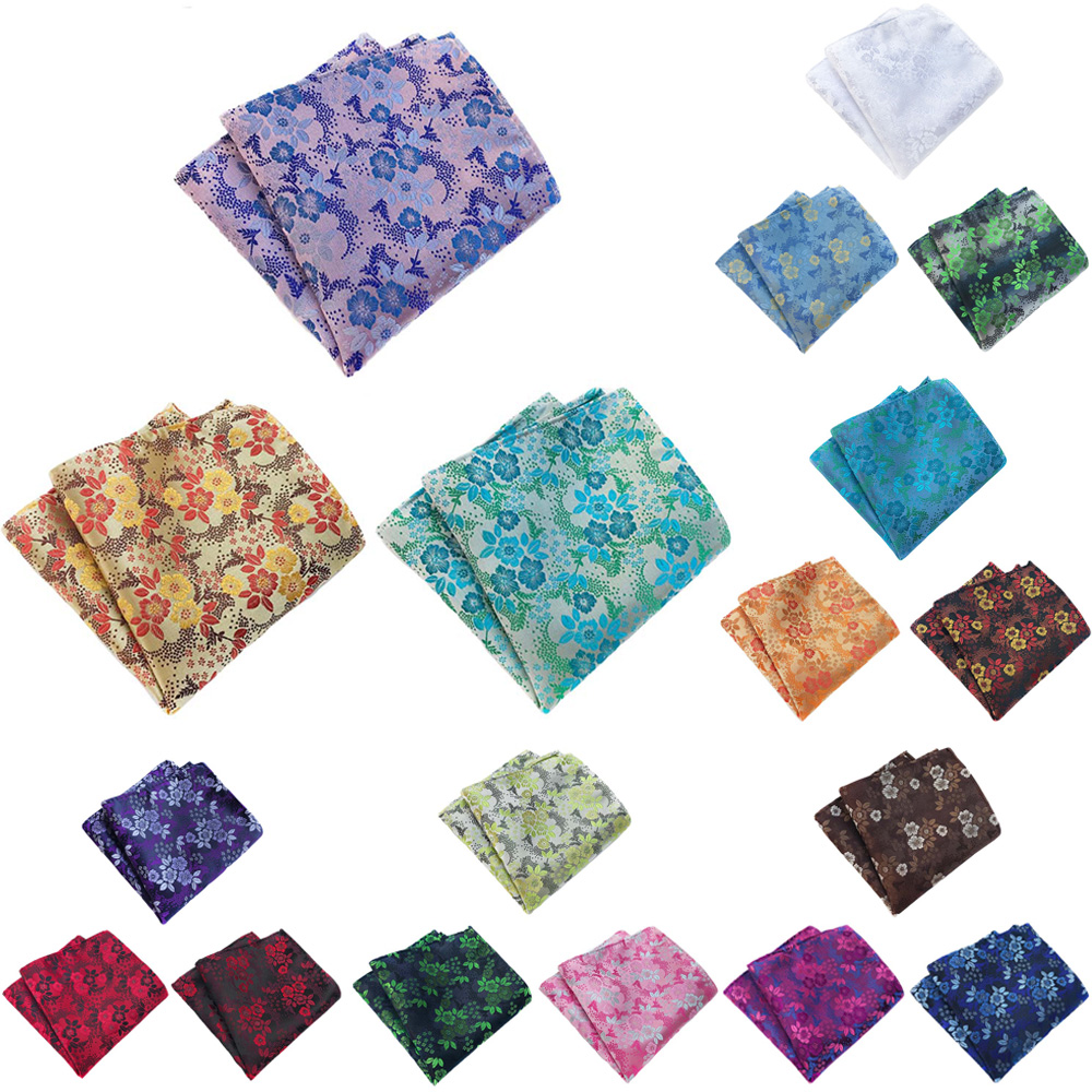 3 Packs Men's Classic Floral Pocket Square Handkerchief Wedding Party Hanky BWTHZ0359