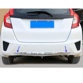 Car Body Cover Protection Bumper ABS Chrome Trim Rear Back Tail Bottom Hoods Parts 1pcs For Honda Fit Jazz 2014 2015 2016 2017