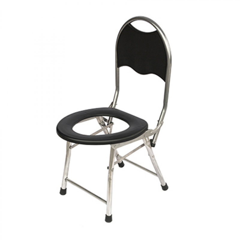 Cheap Simple Toilet Chair With Backrest Foldable Potty Chair Portable Mobile Toilet Seat For Elderly 150kg Bearing