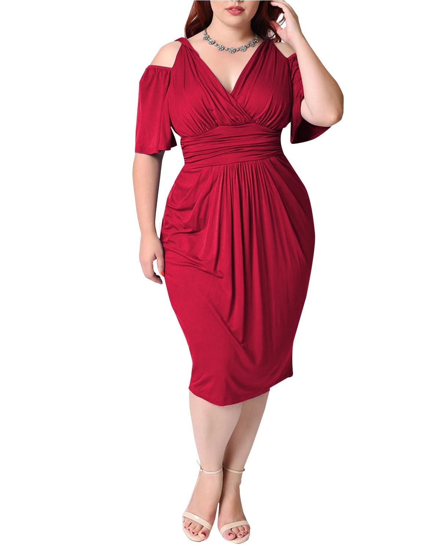 Summer Sexy Midi Dress For Fat Women Plus Size Vintage 4XL 5XL V Neck - plus-size-dresses