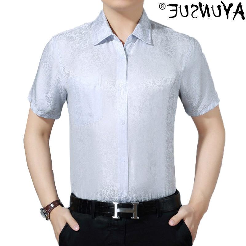 100% Silk men's shirt, high quality white short sleeve shirt, Korean social clothing, kj1240, summer,