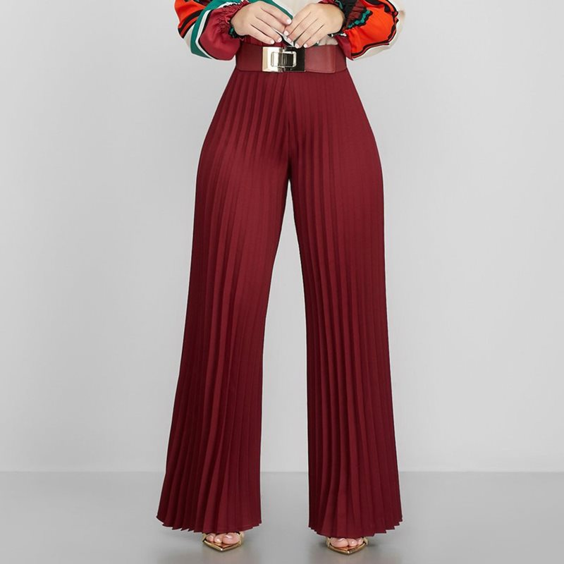 African Pleated   Wide     Leg     Pants   Office Lady Elegant Casual Straight High Waist Long Trousers 2019 Autumn Winter Women Fashion