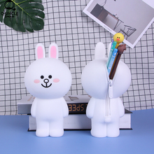 Korea 3D Silicone School Supplies Pencil Case Back Zipper Women Cosmetic Bag Cute Connie Rabbit Cartoon Stationery Box For Gifts